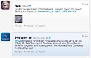 Antwort von Swisscom auf den Tweet